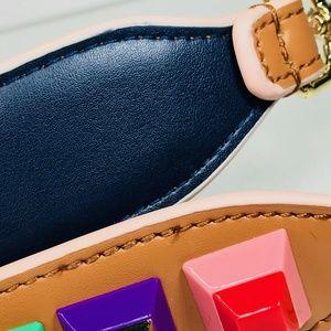 CLOSET REHAB Bags - Cognac Leather Bag Strap w/ Multicolor Rivets